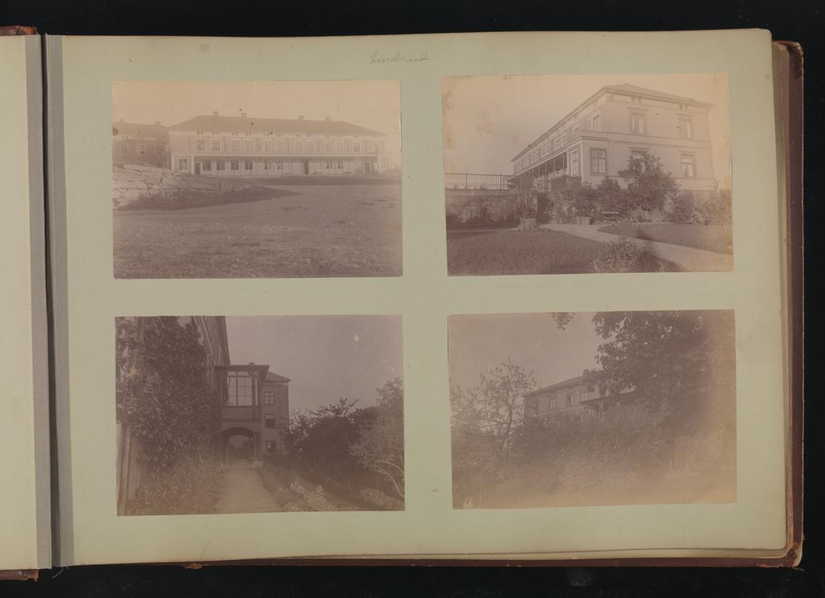 Albumside 10 av grågrønn kartong med fire bilder fra Linderud Gård.