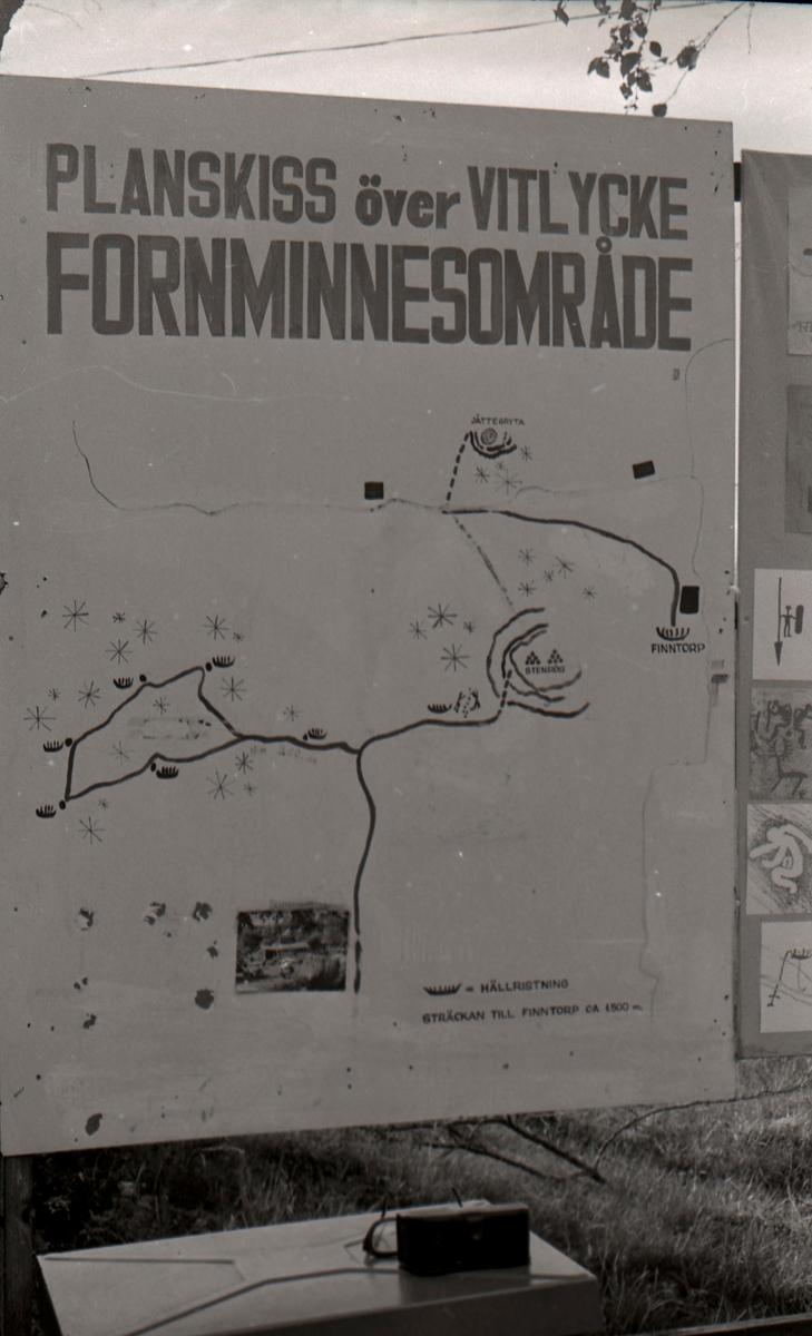 """En planskiss. Hällristningsområdet i Tanum är ett område i Tanums kommun i Bohuslän där man funnit flera berghällar med stora mängder hällristningar från bronsåldern. Runt den största av dem, Vitlyckehällen, är Vitlycke museum uppbyggt. Hällen har närmare 300 inhuggna figurer och ca 170 skålgropar. Den kanske mest berömda scenen bland alla Tanums hällristningar, """"Brudparet"""", finns här. Bland de övriga närliggande hällarna märks Litsleby med en ca 2,3 meter lång spjutbeväpnad man, """"Spjutguden"""", och Aspeberget med en plöjningsscen, ett antal oxar och skepp. Hällen vid Fossum ligger en bit från de övriga. Den kännetecknas av en mer sammanhållen och konstnärlig komposition. Kanske är den gjord av en enda ristare.  Hällristningarna har i modern tid fyllts i med röd färg för att göra dem tydligare. Det är inte känt om de var målade från början.  (Hämtat från Wikipedia)"""
