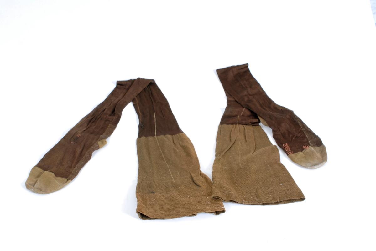 Form: lårlange, bred bomullskant øverst med likedan forsterket hel og tå, søm bak