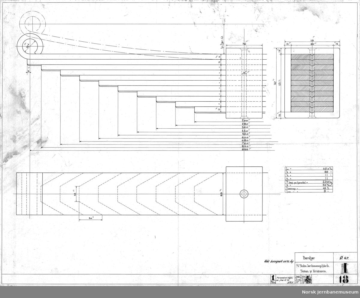 Kisvogn for Thamshavnbanen  I015 Hovedtegning I016 Understilling I017 Rørledninger og understillingsrammer I018 Bærefjær I019 Bremserhus
