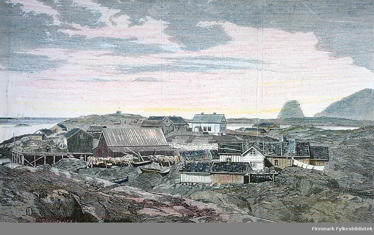 Gjesvær med Gjesværstappan i bakgrunnen i Nordkapp kommune. Orginalmateriale: Norges geografiske oppmåling.