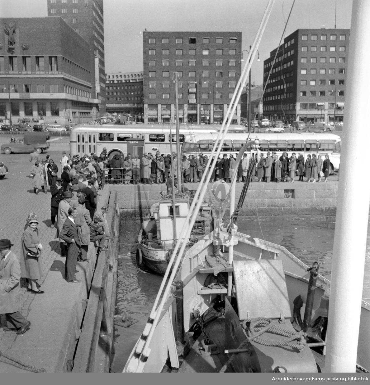 Oslo Havn: Honnørbrygga:.Fisk- og rekesalg.April 1958