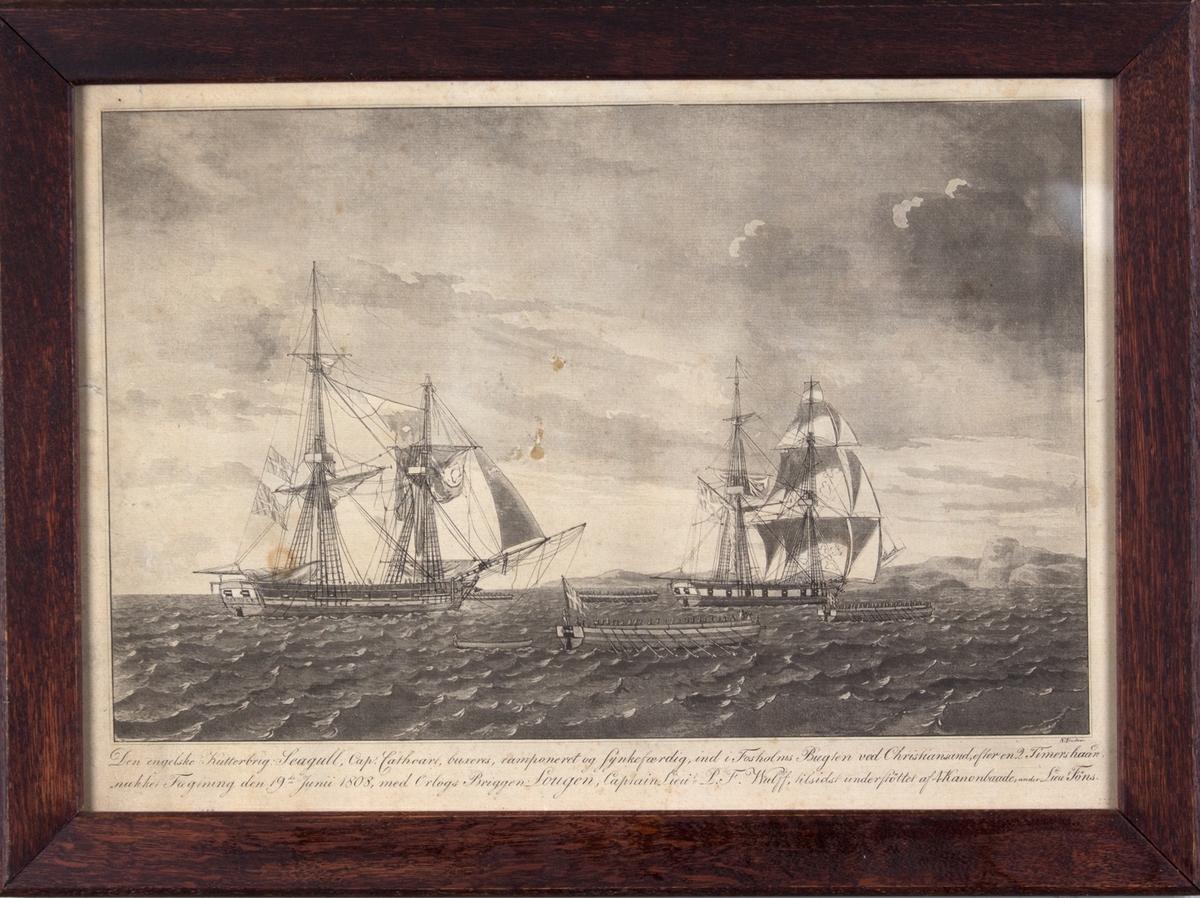 Den britiske briggen SEAGULL føres mot land etter trefninger med orlogsbriggen LOUGEN, utenfor Fosholmsbugten ved Kristiansand.