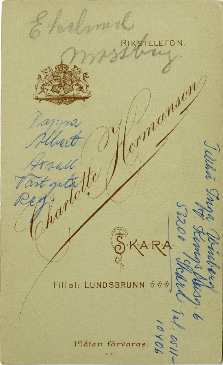Porträtt av Gustaf Albert Löfgren (mitten) och två okända officerare.