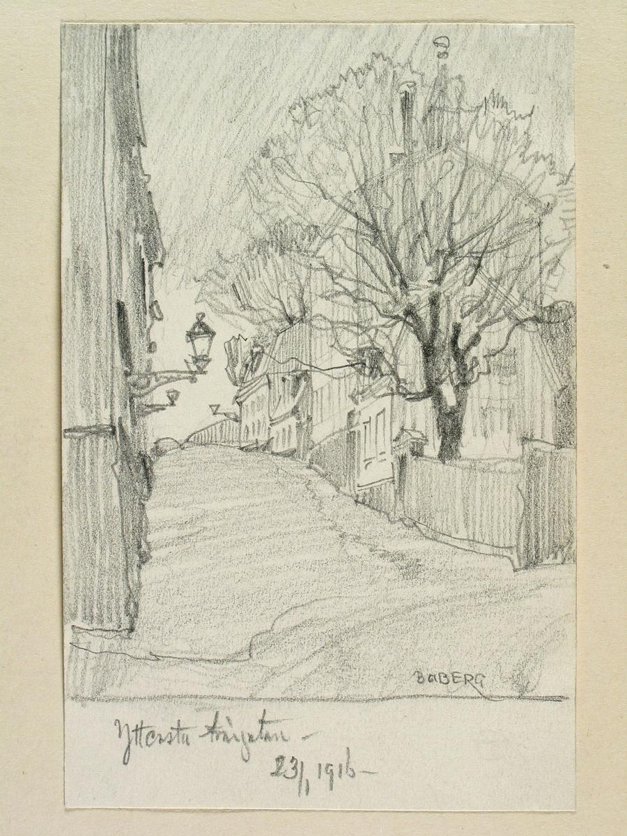 Stockholm, Södermalm, Yttersta tvärgränd.Teckning av Ferdinand Boberg.