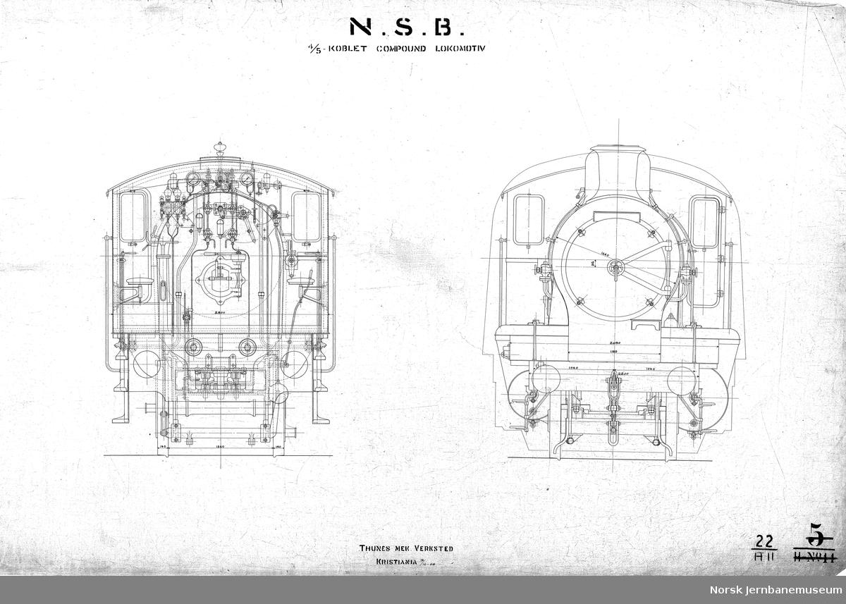 N.S.B. 4/5-koblet compound-lokomotiv. Normalsporet. Damplok type 22a. Tegning 22 H10 og H11
