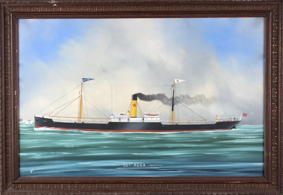 Skipsportrett av DS AGGA  under fart. To master med vimpel med skipets navn  og rederiflagg. Rederimerket til William Hansen på skorsteinen. Norsk flagg akter. Bølger og måker.