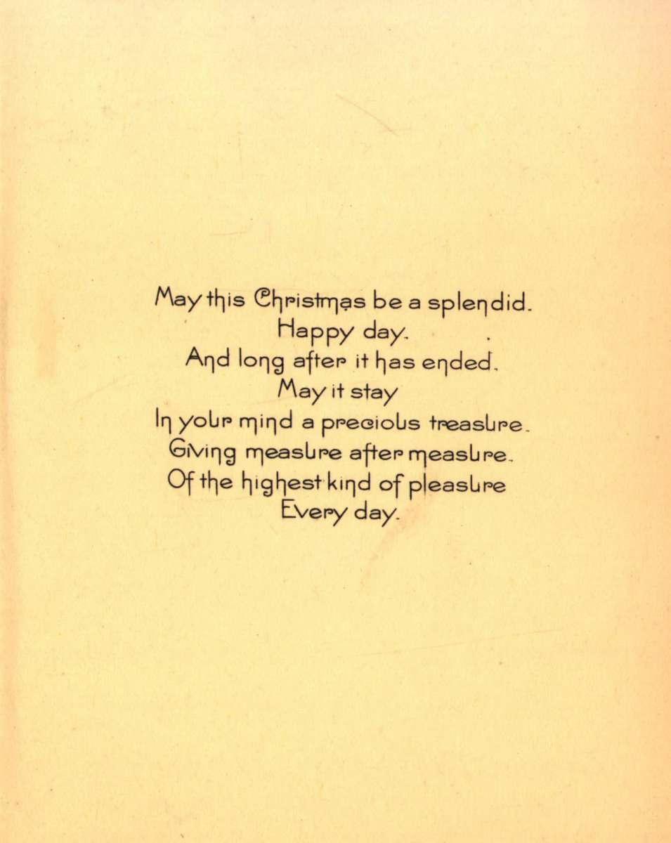 Julekort. Dekorasjon med julestjerner. Juledikt. Engelsk tekst.