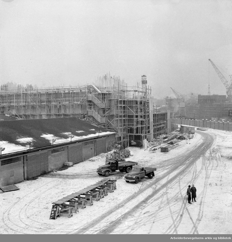 Tjuvholmen nyanlegg. Februar 1956