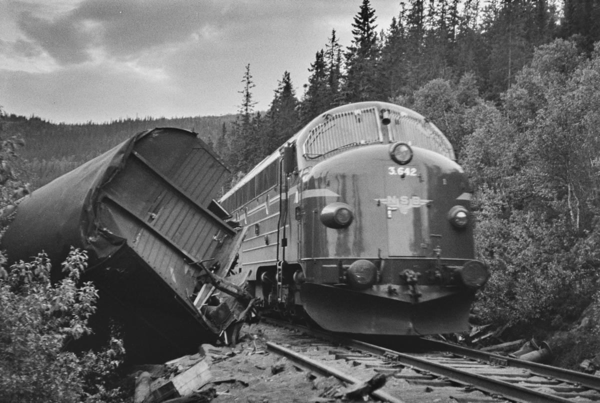 Avsporing mellom Stensli og Haltdalen stasjoner på Rørosbanen 16.06.1965. Et damplokomotiv type 63a nr. 5113 og to godsvogner sporet av. Damplokomotivet veltet og ble hugget på stedet. Et ordinært tog passerer.