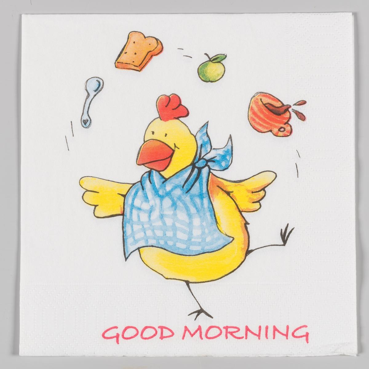 En høne med smekke står på ett bein og sjonglerer med skje, brødskive, eple og en kopp kaffe.