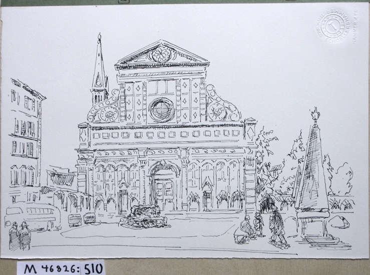 Tuschteckning. Santa Maria Novella, Florens.