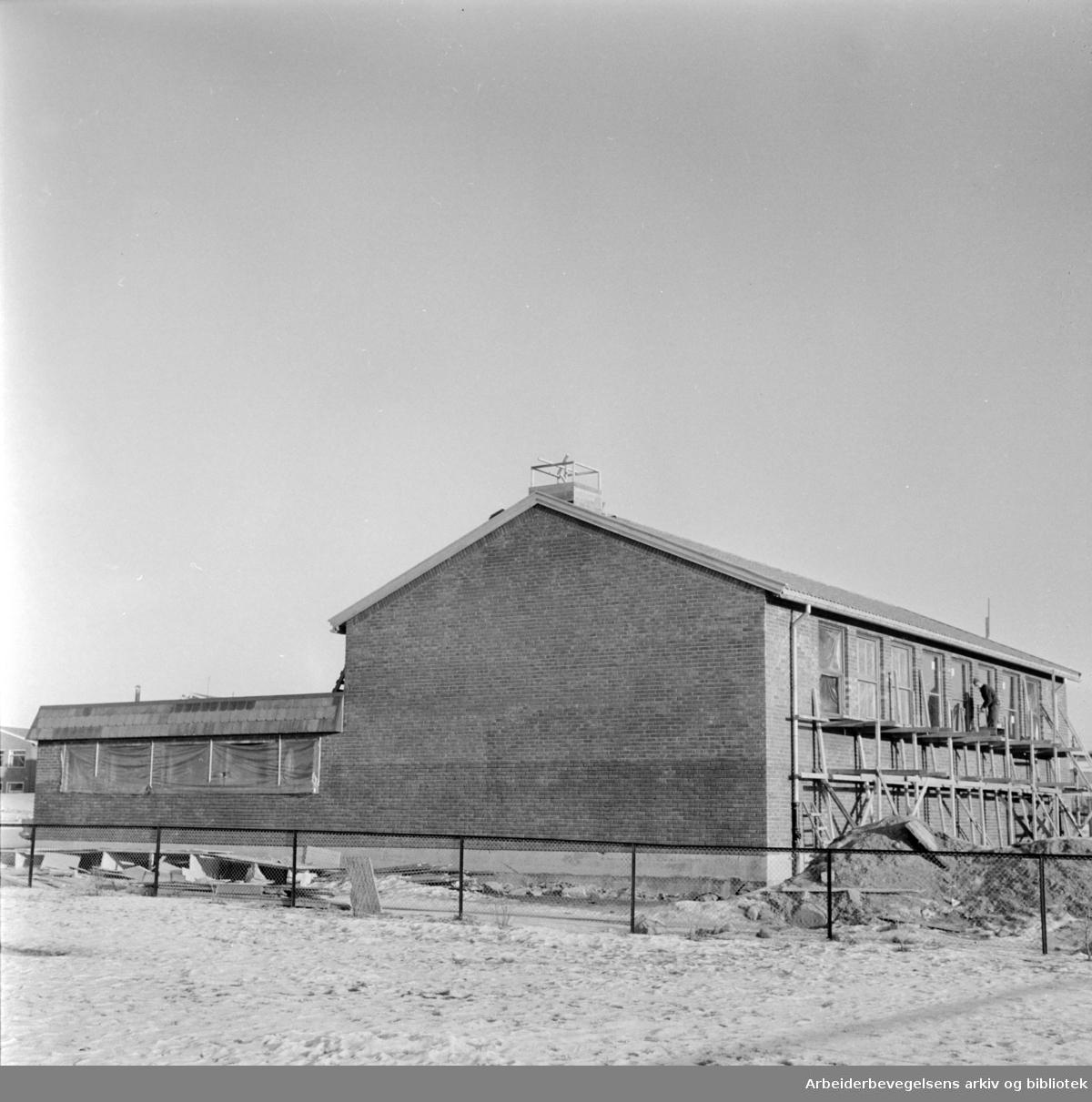 Nordstrand: Nordtvet skole. Ny gymnastkksal. Februar 1964