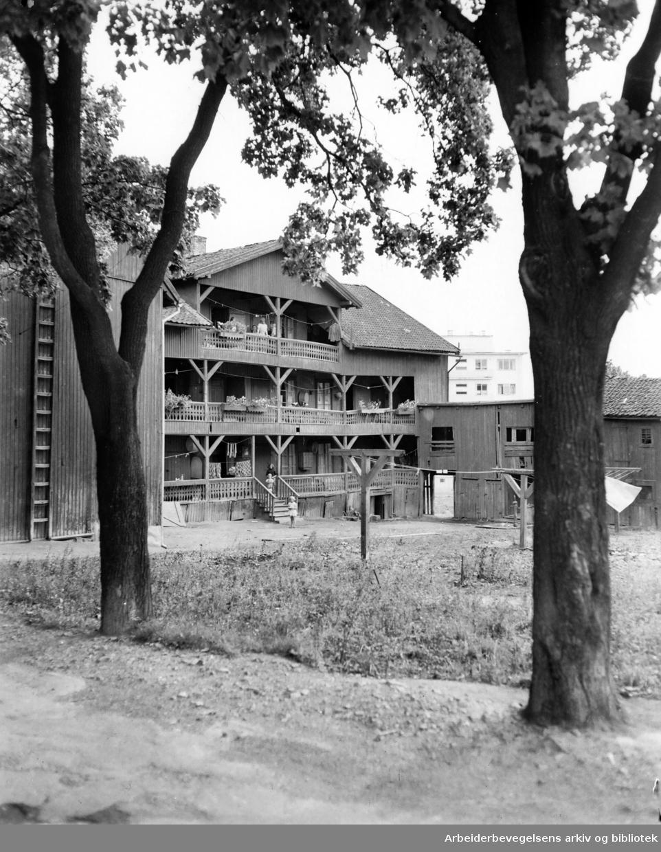 Lynggården (bak Nordpolen). OBOS har kjøpt tomta.September 1949