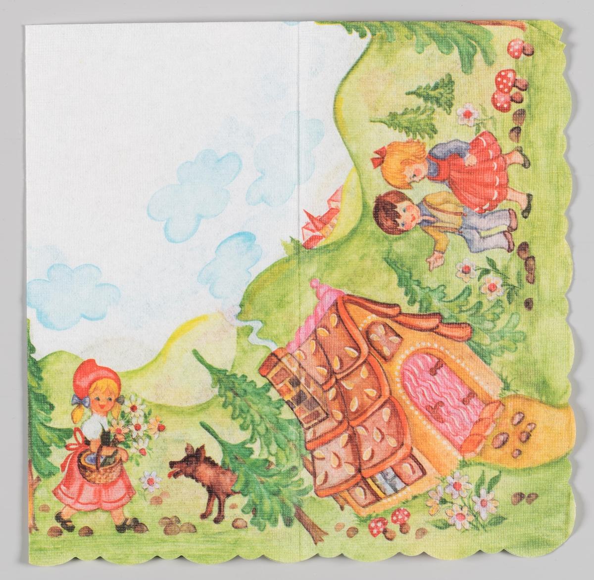 Motiver fra eventyrene Rødhette og Hans og Grethe.