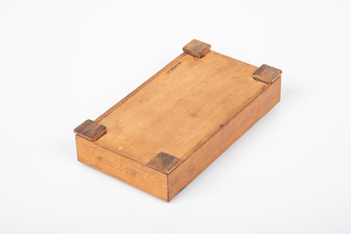Skrinet er laget av tre og har rekatangulær form. Den er lakkert. Den har fire kvadratiske ben. Malingsflekker i forskjellige farger på innsiden av skrinet.