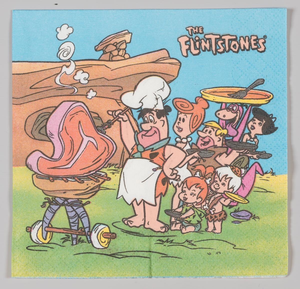 Familien Flintstone (norsk Flint) griler sammen med venner og familie.  The Flintstones (norsk Familien Flint) er en amerikansk animert komiserie som kom i 1960. Serien omhandler familien Flint og deres venner i byen Bedrock i steinalderen. I 1994 kom en film om The Flintstones med John Goodman i hovedrollen.