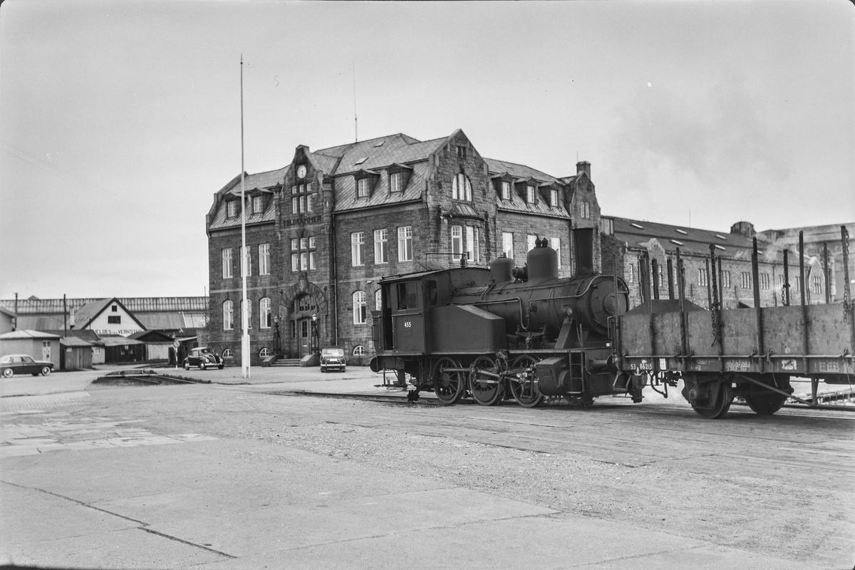 Damplokomotiv type 23b nr. 455 i skiftetjeneste på Brattøra ved Trondheim stasjon.