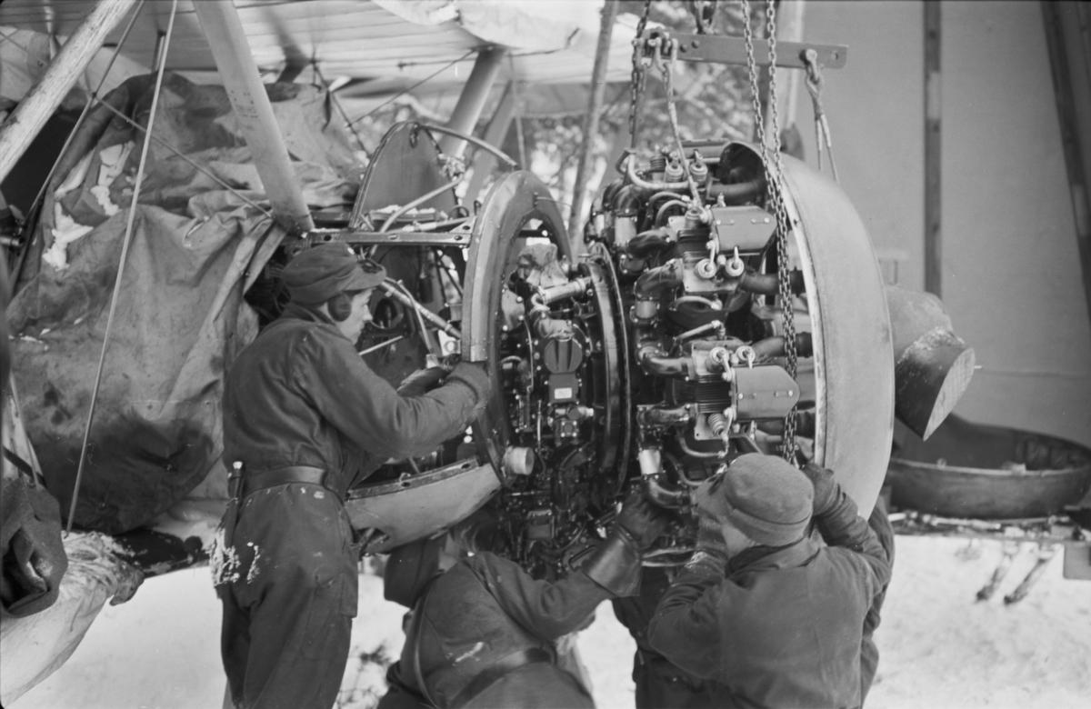 Motorbyte på flygplan Gloster Gladiator vid F 19, Svenska frivilligkåren i Finland. Tre mekaniker i arbete.