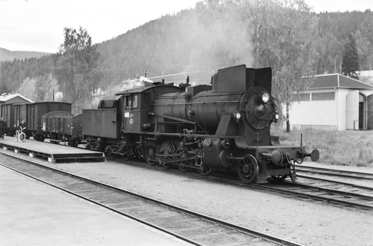 Godstog til Eina på Fagernes stasjon. Toget trekkes av damplokomotiv type 24b nr. 221.