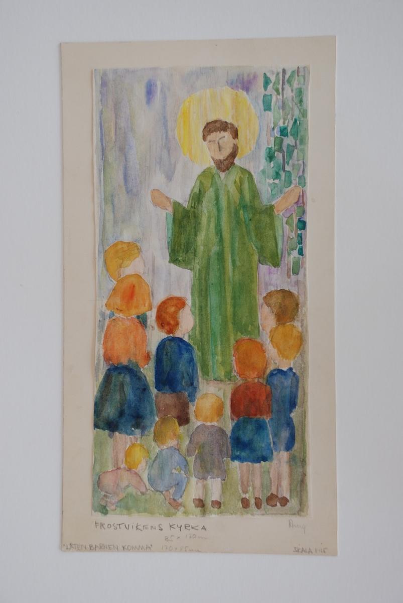Skisser till Rölakansvävar. Komponerade av Ann Mari Gunnarsson till Frostvikens kyrka, Jämtland. Med vävprover.