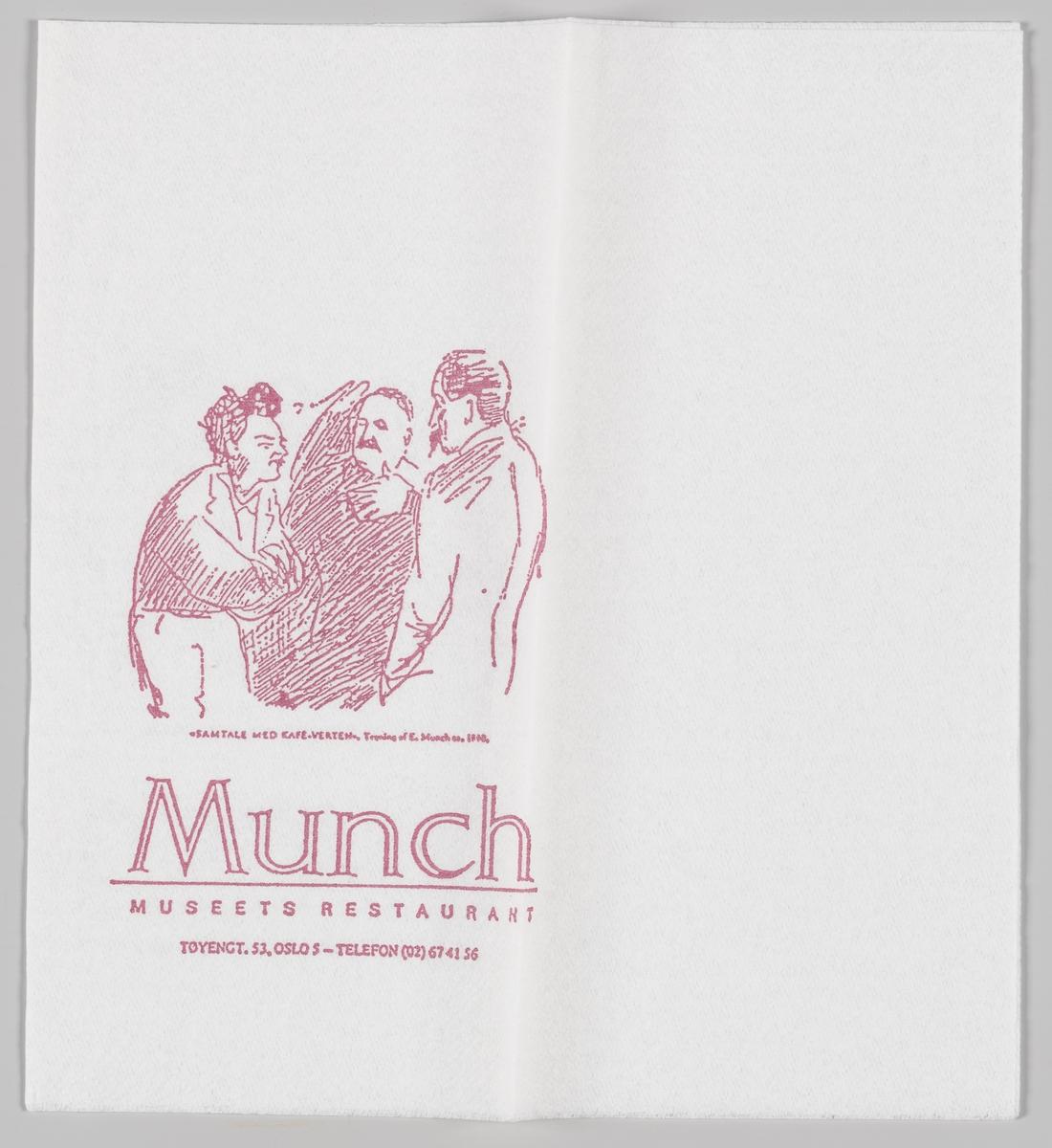 Samtale med Kafe-Verten, tegning av E. Munch og reklame for Munch museets restaurant.  Samme motiv på MIA.00007-004-0068.