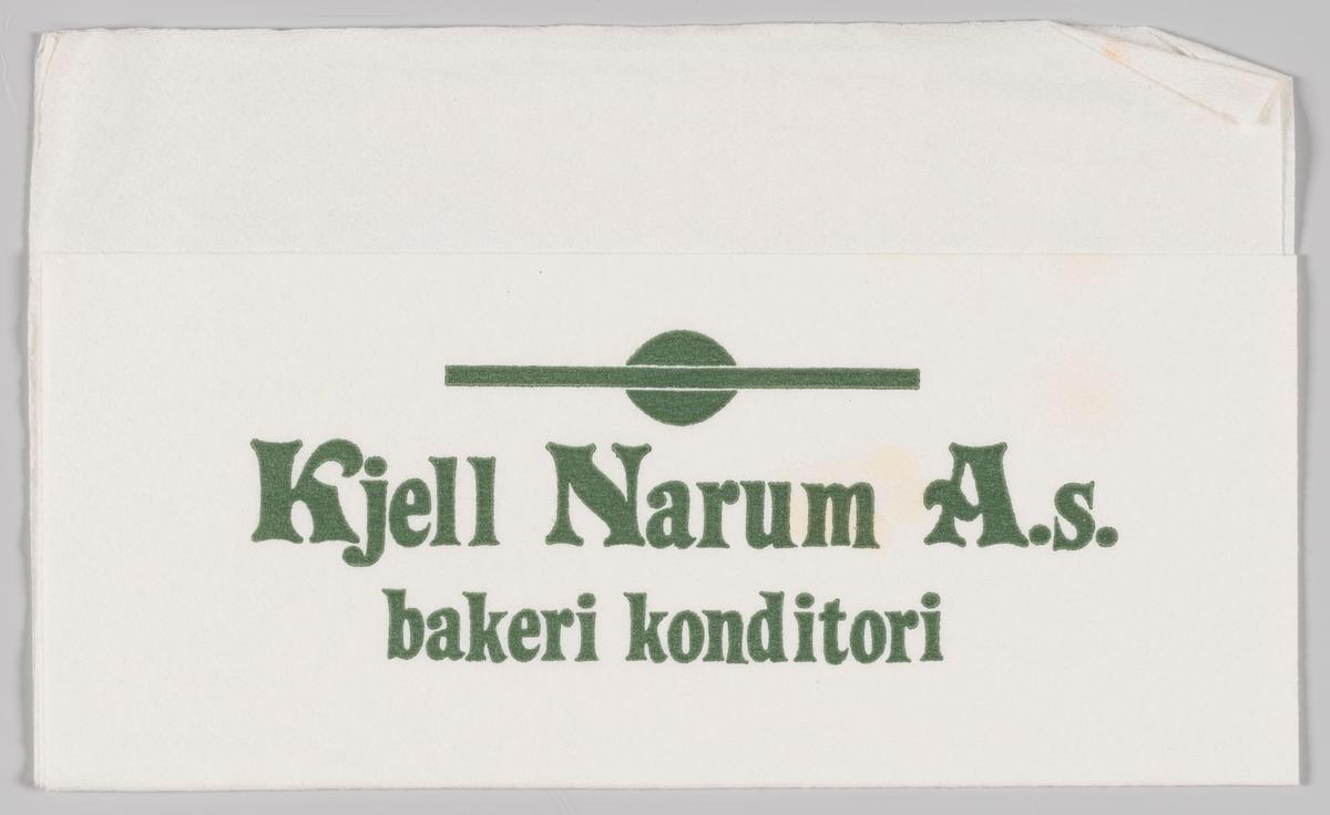 En reklametekst for Kjell Narum AS bakeri og konditori på Hønefoss.  Baker Narum startet sin historie 13. april 1899, da Gustav Hansen Narum, tok sitt svennebrev i bakerfaget.  Firmaet holder i dag til i Hønefoss.