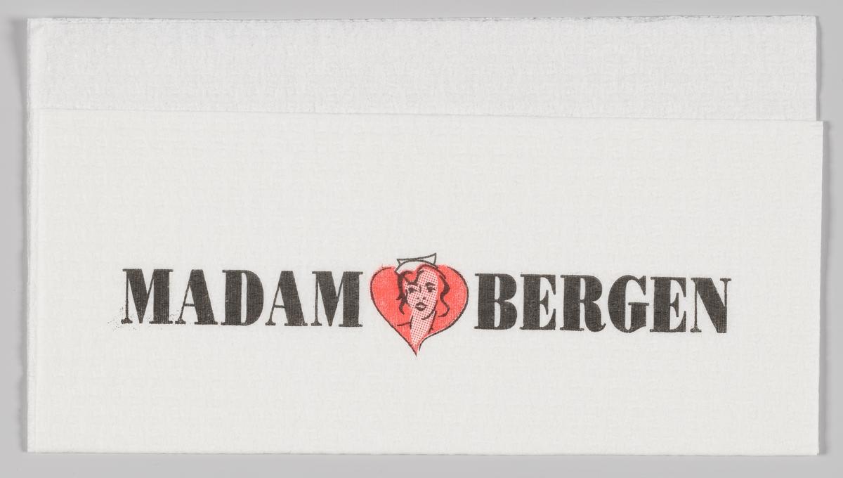 En reklamelogo med et kvinnehode i et hjerte og reklametekst for Madam Bergen.  Madam Bergen er en virksomhet som leverer sjømatprodukter til dagligvarerbutikker og storhusholdninger i Hordaland og omegn. Madam Bergen ble etablert i 1991 og har hjerteformede fiskekaker og hjertesymbolet i logo og markedsmateriel.