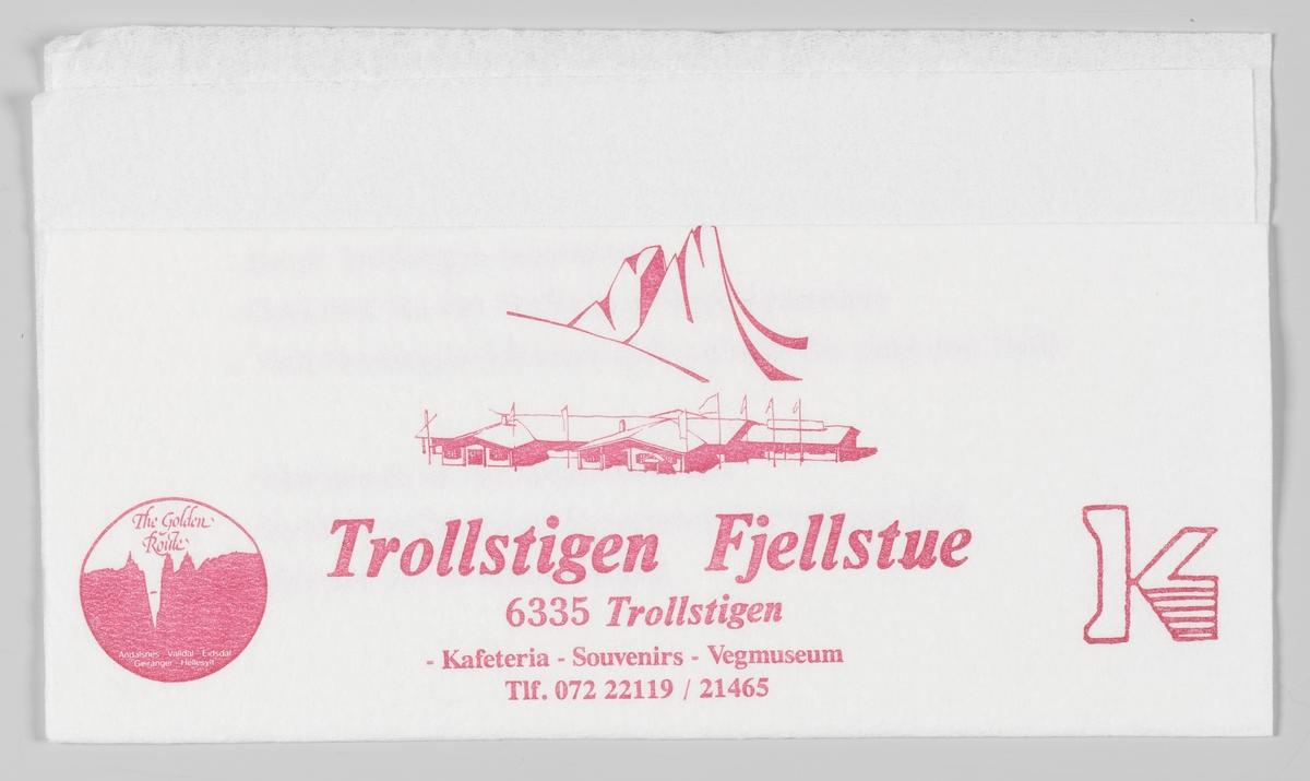 Et fjell og en tegning av Trollstigen Fjellstue ved Trollstigen.  Samme reklame på MIA.00007-004-0275.