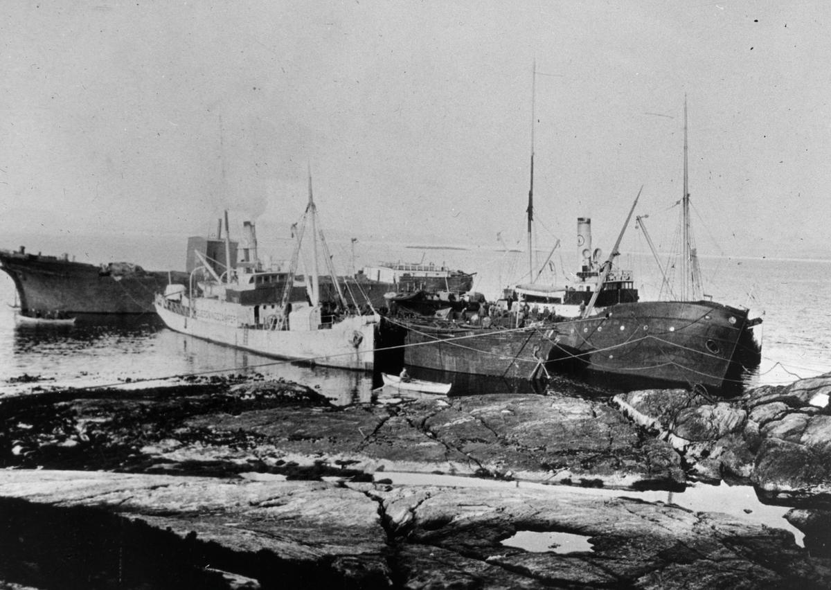 To dampskip flankerer to vrak, fortøyet ved et svaberg. To robåter på vannet. Et større fartøy ligger på langs i motivet.