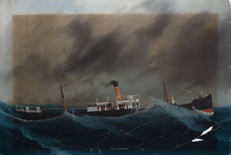 Skipsportrett av DS CEYLON under fart i høy sjø.