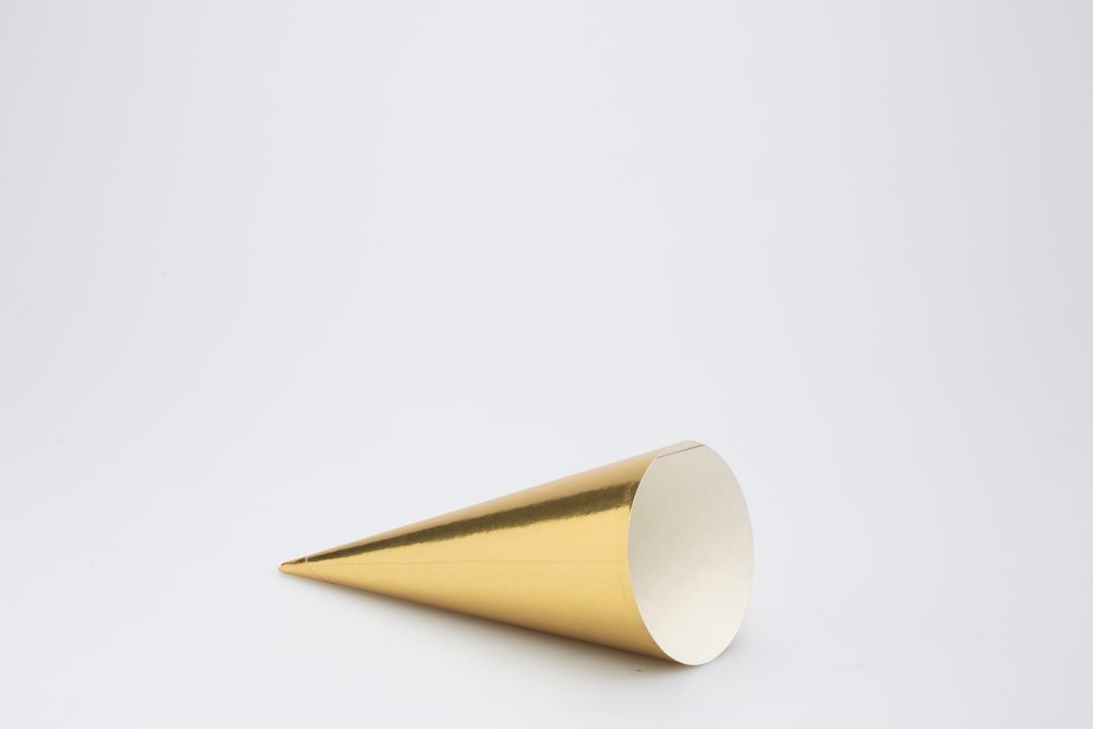 Kjegleformet iskrempapir (kremmerhus). Kremmerhuset er blankt med farger på utsiden, og matt uten farge (hvit) på innsiden. Kremmerhuset er gullfarget uten mønster og tekst.