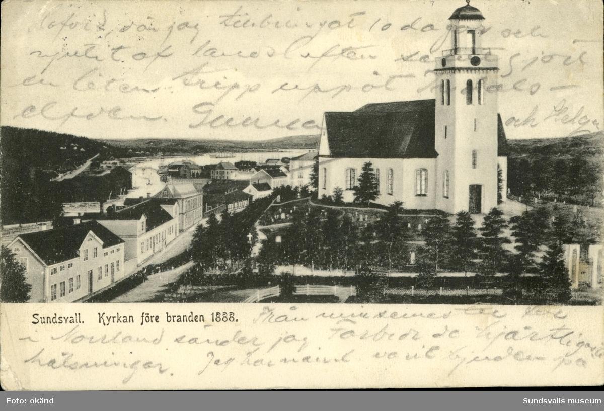 Vykort med motiv över Sundsvall före stadsbranden 1888 och den gamla kyrkan Lovisa Ulrika.