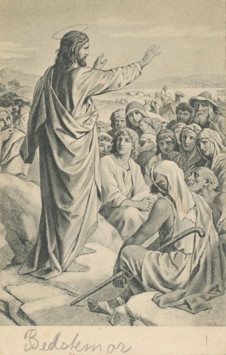 Poskortmotiv av ei tegning av Kristus som står foran flere mennesker.