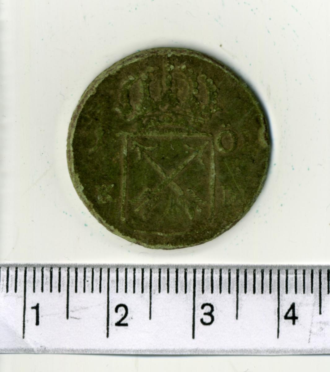 8. 1 öre KM 1724 Fredrik I. Stockholm.