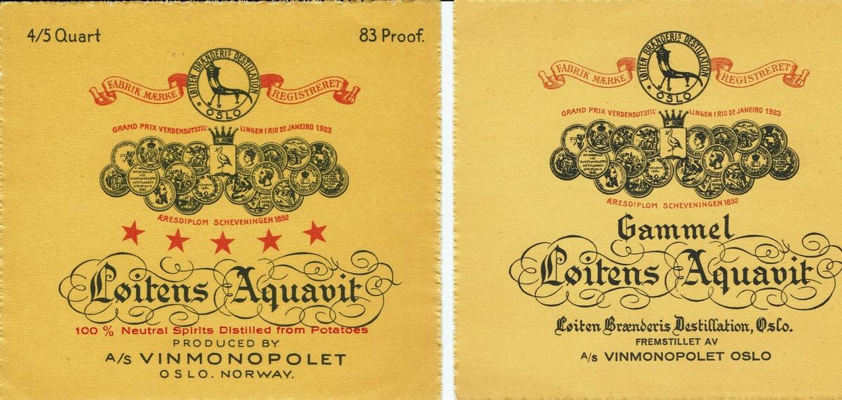 Løiten Aquavit Gammel. Med varemerke og medaljer. Norsk og engelsk etikett. A/S Vinmonopolet.