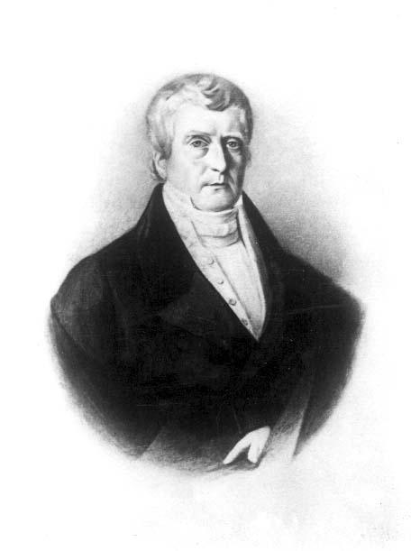 Fotografi av tecknat porträtt av okänd man, bröstbild. 1800-talets mitt.