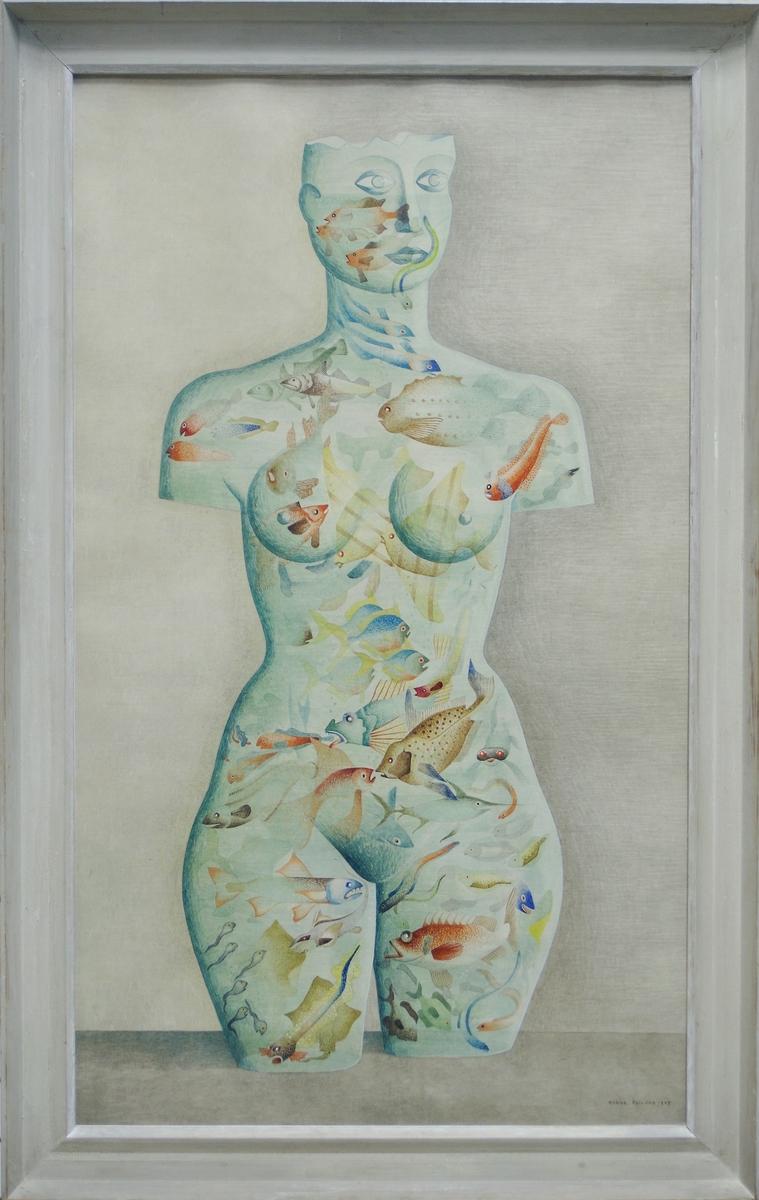 Akvarell, av Manne Östlund: Akvarium, 1947. En av konstnärens surrealistiska bilder. Akvariet har givits formen av en kvinnotorso.