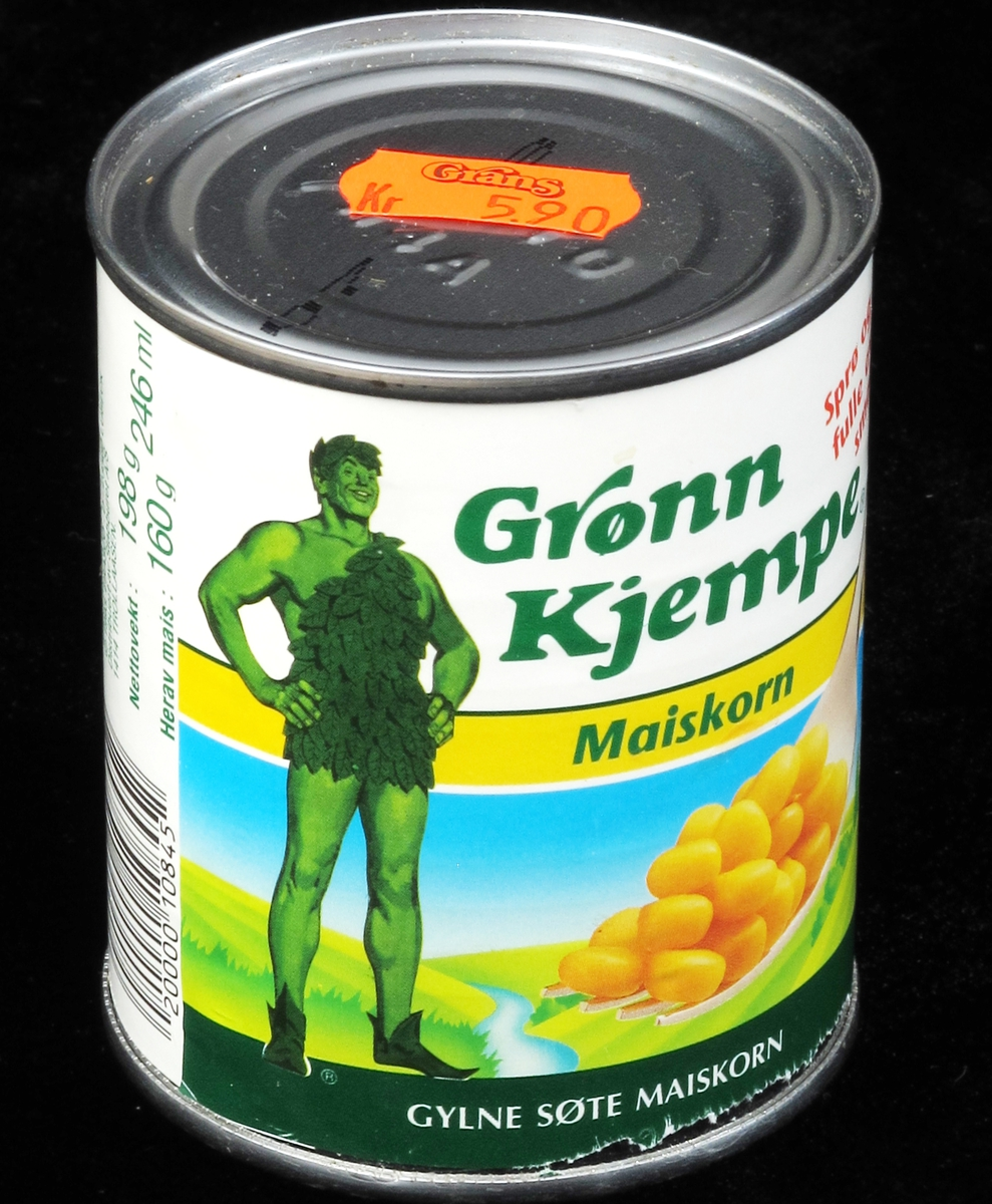 Maiskorn og grønnfarget mann, tegning og  fargefotografi