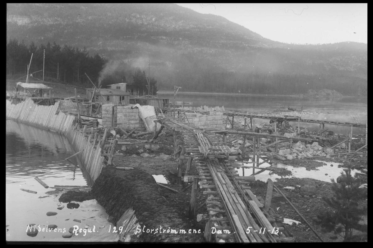 Arendal Fossekompani i begynnelsen av 1900-tallet CD merket 0468, Bilde: 93 Sted: Storstraumen dam, Nidelva Beskrivelse: Regulering