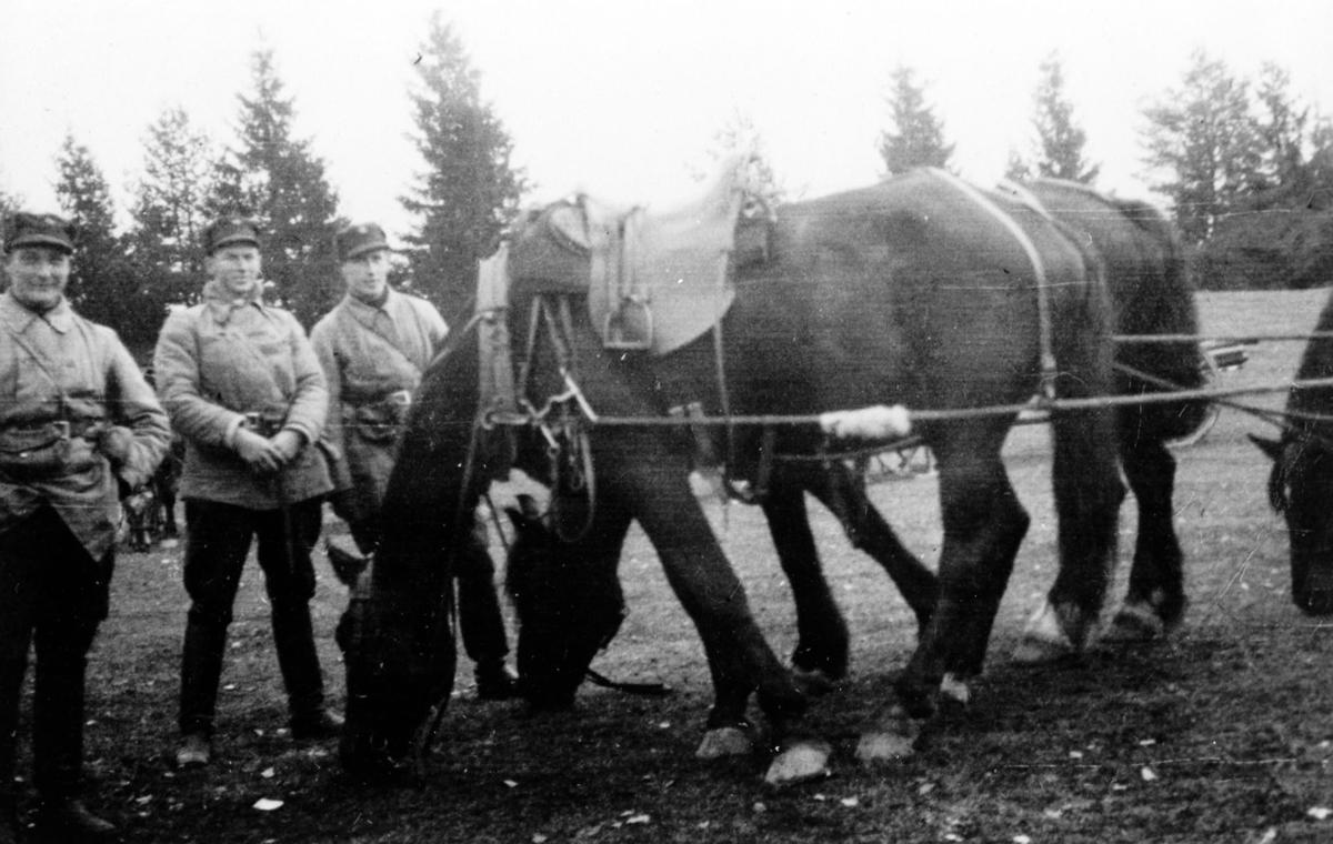 Soldater og hester. De fremste hestene er i et seksspann.