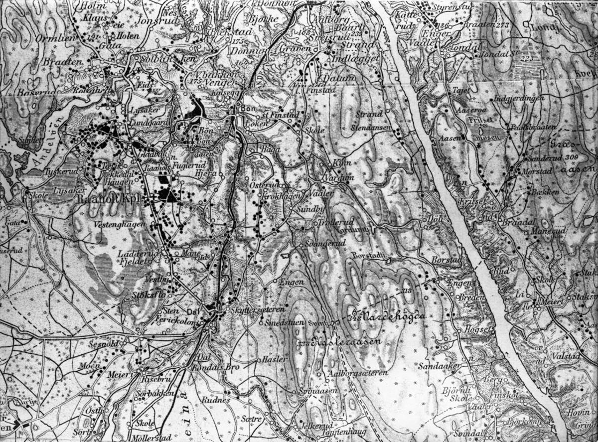 Kart over området ved Dal. Kartet er sannsynligvis fra før 1920.