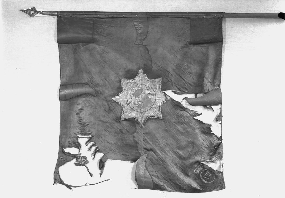 Oplandske gevorbne regiment. F.VI. Blå(grønn) silkefane.Midt på Den norske løve i stjerneglorie. Dannebrog i øverste hjørne ved stangen. Kronet F VI i de øverige hjørner, samrt røde tunger. Spiss med kronet C 7 tallet er fjernet.