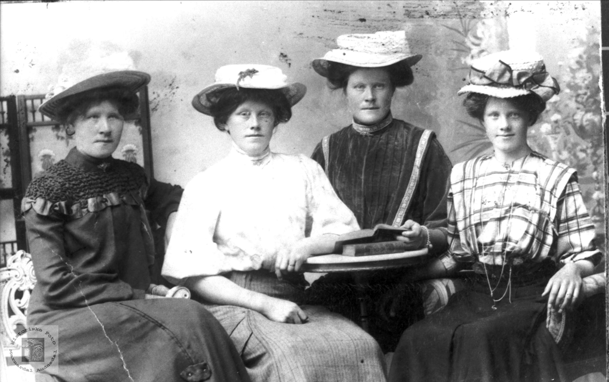 Gruppeportrett av 4 søstre Stedjan, Bjelland.