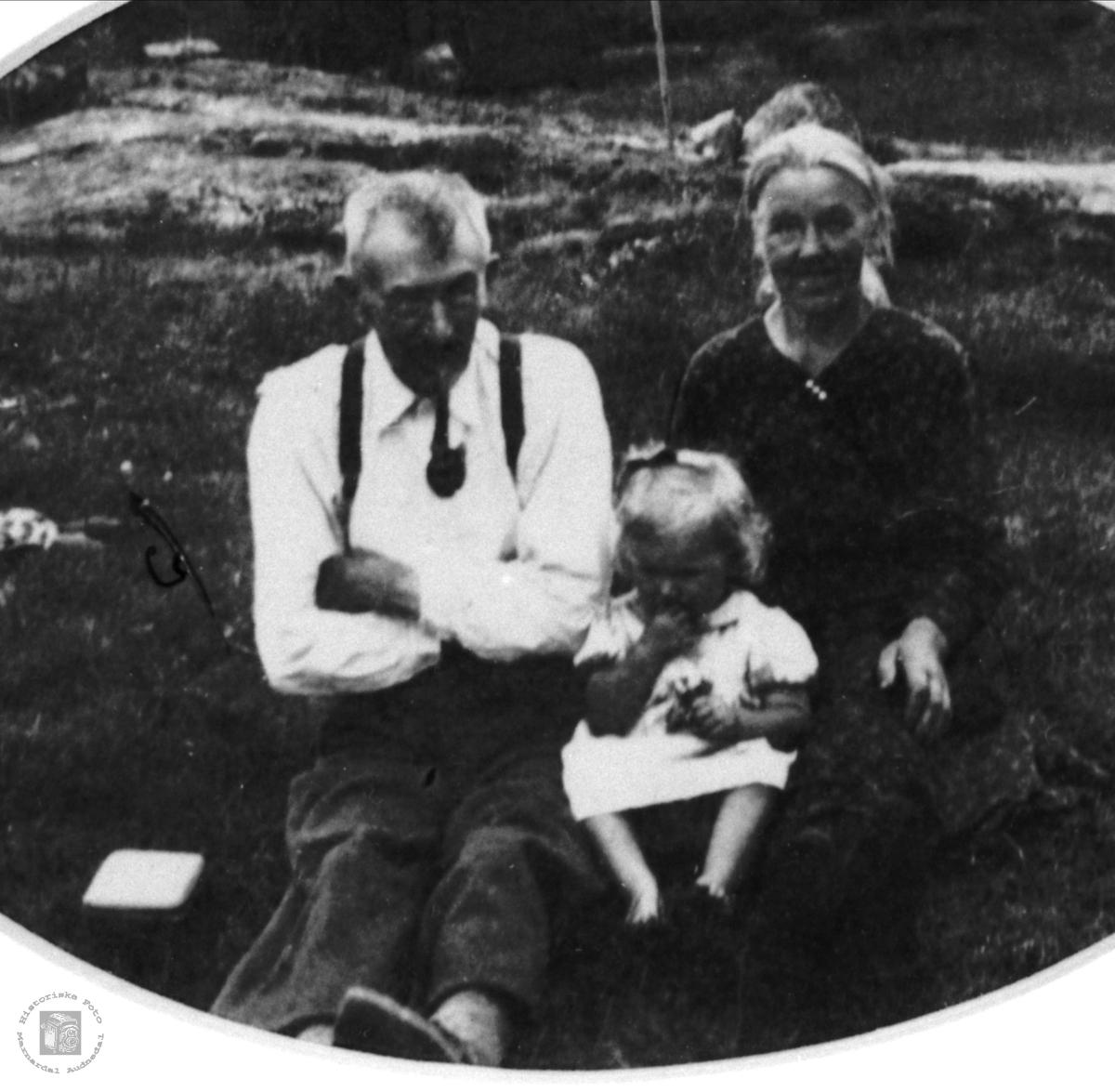 Familiebilde av familien Ødegård, Øyslebø.