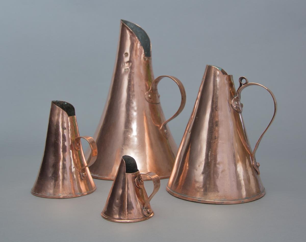 Måttsats av koppar för volymmått bestånde av fyra mått: jungfru, kvarter, stop och kanna.