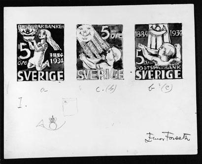 Skisser till frimärke Postsparbankens 50-årsjubileum, utgivet 6/12 1934. Konstnär: Einar Forseth. Valör 5 öre.