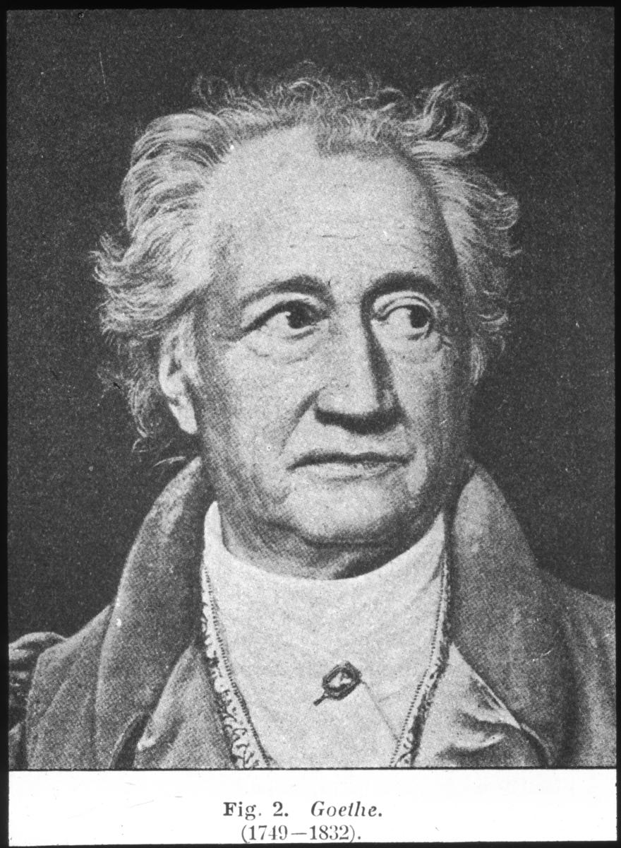 'Porträtt av Goethe (1749-1832). ::  :: Ingår i serie med fotonr. 5324:1-45 med repro från böcker eller publikationer. Dessa tillhör bilder som Leonard Axel Jägerskiöld använt i sina föreläsningar.'