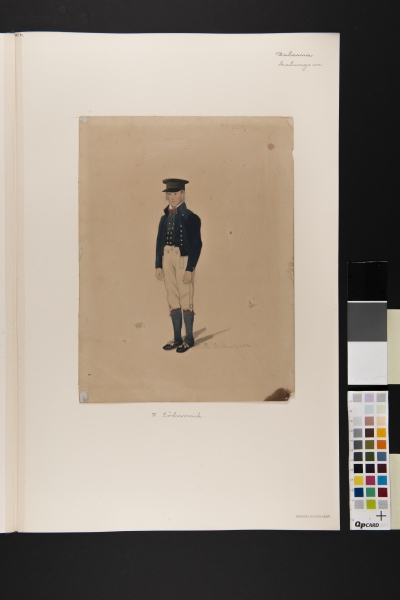 Pojke i dräkt. Akvarell av P Södermark 1850.