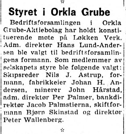 Bedriftsforsamling i Orkla 1973